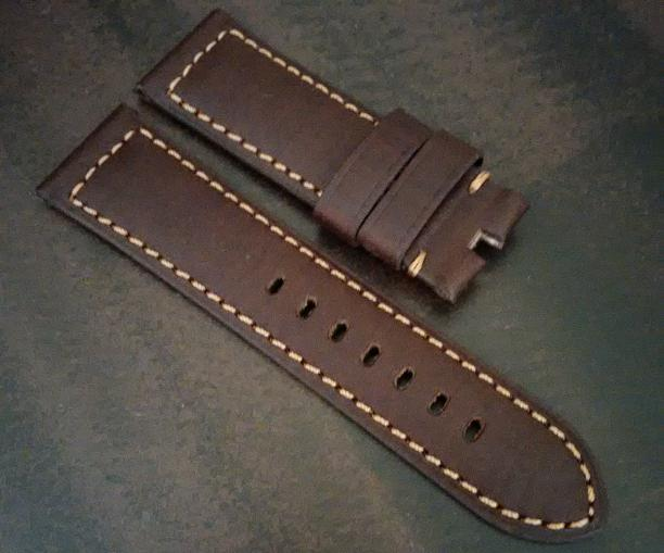 Chocolate Brown Leather with Tan Stitch for Tang Buckle
