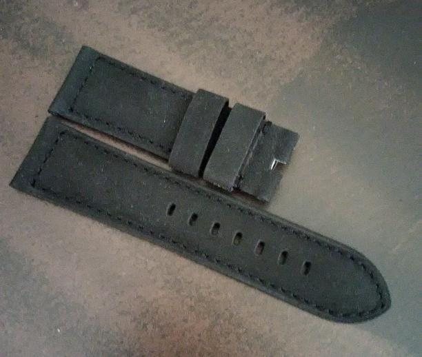 Black Nubuck Leather with Black Stitch for Tang Buckle
