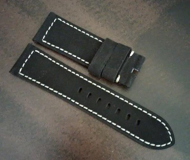 Black Nubuck Leather with White Stitch for Tang Buckle