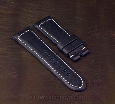 Black Italian Leather with White Stitch for Tang Buckle - Click Image to Close