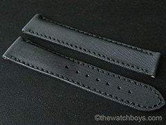 Omega Style Black Rubber Texture with Black Stitch