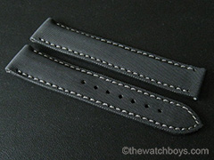 Omega Style Black Rubber Texture with Gray Stitch