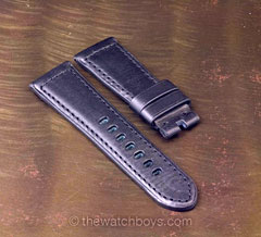Black Italian Leather with Black Stitch for Tang Buckle