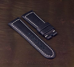 Black Italian Leather with White Stitch for Tang Buckle