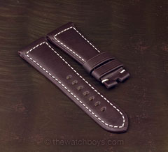 Chocolate Brown Leather with White Stitch for Tang Buckle