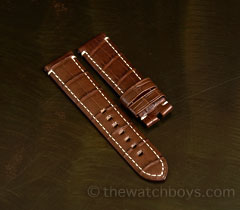 Chocolate Brown Alligator with White Stitch for Tang Buckle