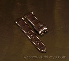 Dark Brown Alligator with White Stitch for Tang Buckle