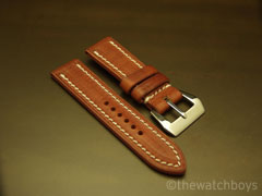 Vintage Tan Italian Leather with Off White Stitch