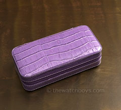 Double Watch Travel/Storage Case - Light Purple Alligator Grain